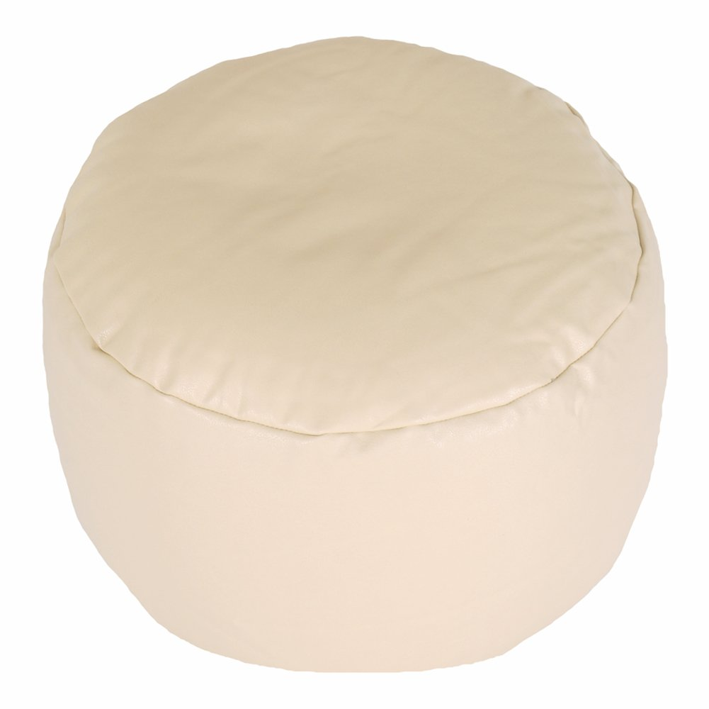 FOOTSTOOL Faux Leather Plain Cream Round Bean Bag with Filling Bean Bag Warehouse