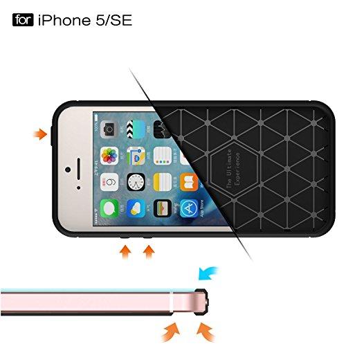 MOONCASE iPhone SE Hülle, Karbon Elastisch Fallschutz Anti-Scratch Rugged Armor Defender Case Tasche Schutzhülle für iPhone 5 / 5S / iPhone SE Blau