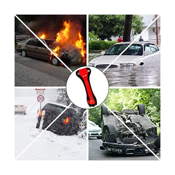 Martillo de Seguridad para Automóviles 2 en 1 Herramienta de Escape de Emergencia con Romper la Ventana de Coche y Cortador de Cinturón de Seguridad para Autobús Tren para Salvar la Vida 2 Piezas 3