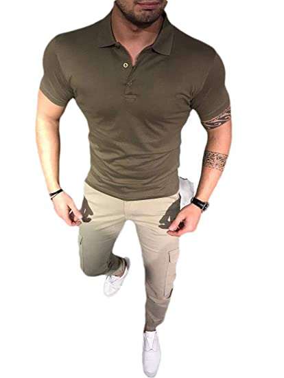 CuteRose Men Short Sleeve Business Turn Down Collar Classic Polo ...