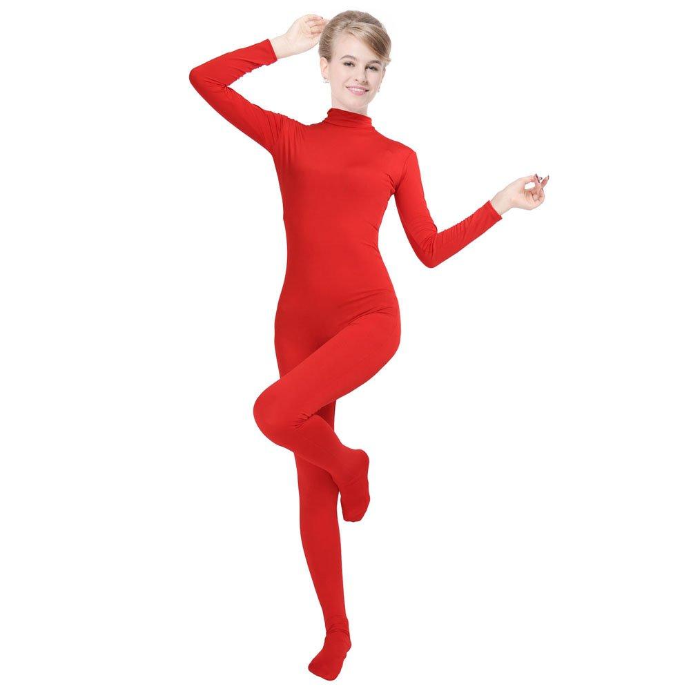 CUTECATCOS Unisex Lycra Spandex Unitard Mock Neck Long Sleeves Full Foot Bodysuit Costume