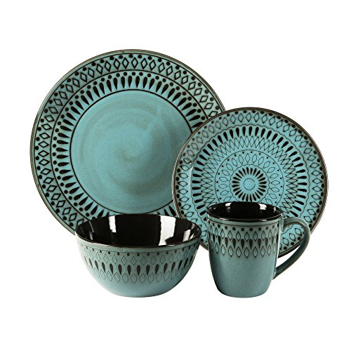 Plate Buffet Turquoise - American Atelier 6588-16rb 16 Piece Delilah Round Dinnerware Set, Green