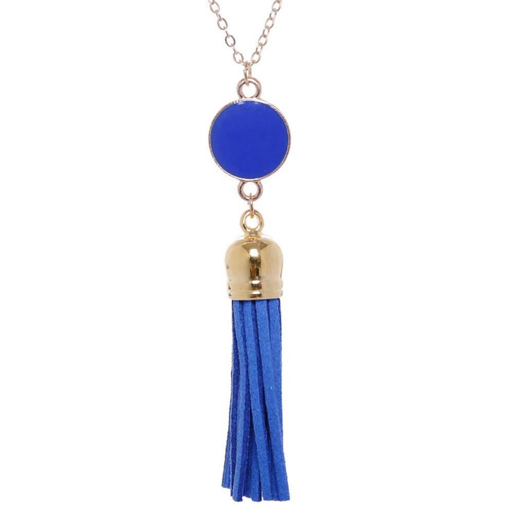 TraveT Acrylic Blank Disc Tassle Pendant Necklace Boho Long Chain Necklaces for Women Girls Fashion Sweater Chains Fine Jewelry Gift,Royal Blue Gold