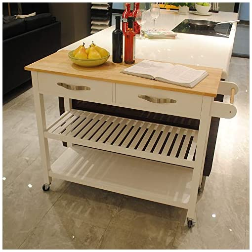 Kitchen Rolling Kitchen Cart, Baker Rack,Counter,Storage Cabinets,Microwave Stand,Portable Kitchen Island Wood Top Kitchen… modern kitchen islands and carts