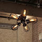 Ceiling Light, MKLOT Industrial Fan Style Wrought Iron Semi Flush Mount 18.11 Wide Ceiling Pendant Light Chandelier with 5 Lights - Environmentally Ceramics Caps