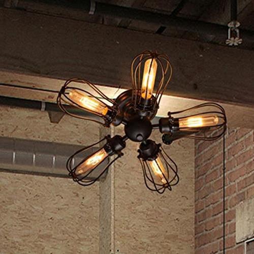 Edison Five Light Chandelier (Ceiling Light, MKLOT Industrial Fan Style Wrought Iron Semi Flush Mount 18.11 Wide Ceiling Pendant Light Chandelier with 5 Lights - Environmentally Ceramics Caps)