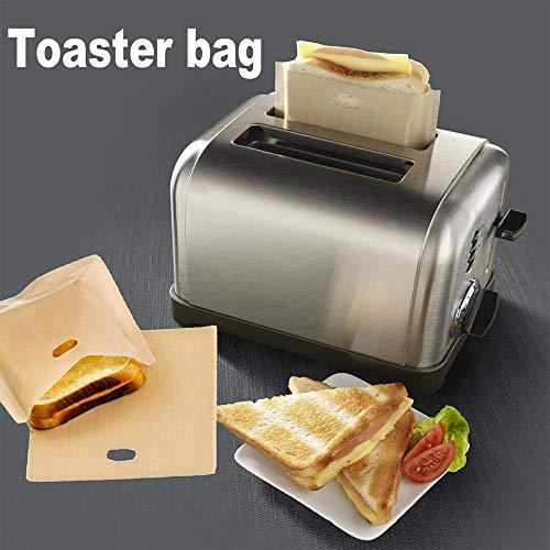 2 bolsas de tostadora para sándwiches de queso con rejilla, bolsas de comida para tostadas de horno fáciles de reutilizar. 16x16.5cm beige
