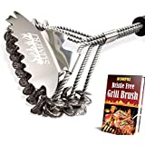 SUMPRI Grill Brush and Scraper -Best Bristle Free Safe BBQ Grate Cleaner -Barbecue Cleaner for Porcelain, Ceramic, Iron, Gas/Charcoal Grill -18 Inch Stainless Steel, Bq Bristles Grill Cleaning Brush