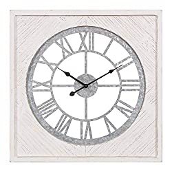 Patton Wall Decor 23 Inch Square Whitewash Wood and Galvanized Metal Cut Out Roman Numeral Wall Clock, Grey