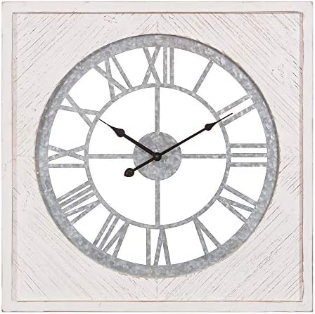Patton Wall Decor 23 Inch Square Whitewash Wood and Galvanized Metal Cut Out Roman Numeral Wall Clock