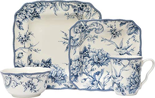 Adelaide Blue 16 Piece Porcelain Dinnerware Set Square, Service for 4 ()