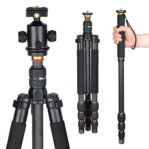 AW Professional Carbon Fiber Adjustable DSLR Camera Tripod Monopod w/ Ball Head For Travel Video Studio