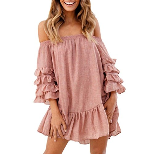 (BODOAO Women Off Shoulder Loose Dress Ruffled Layered Sleeved Party Short Mini Dress Pink)