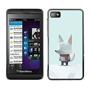 Be-Star Único Patrón Plástico Duro Fundas Cover Cubre Hard Case Cover Para Blackberry Z10 ( White Wolf Snow Cartoon Scarf Art Cute )
