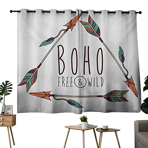 (NUOMANAN Customized Curtains Arrow,Tree Tribal Ancient Ethnic Arrow in Geometric Triangle Shape Feathers Boho Print,Multicolor Curtain Panels for Bedroom & Kitchen,1 Pair 42