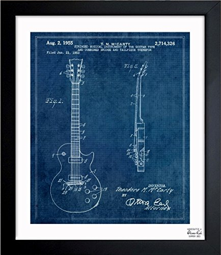 GIBSON LES PAUL GUITAR, 1955 blue' Vintage Framed Wall Art Print for Home decor & Office. The Music Wall Decor Blueprint Collection by Oliver Gal Hand Framed and Ready to Hang. 15x18 inch ()
