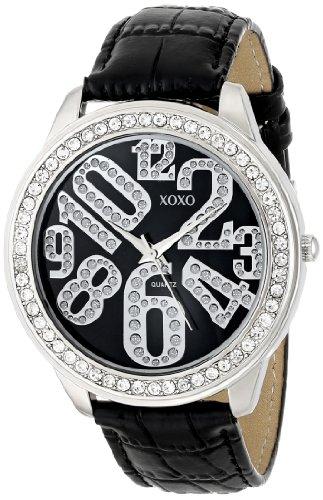 XOXO Women's XO3183 Black Dial Black Crocodile Genuine Leather Watch