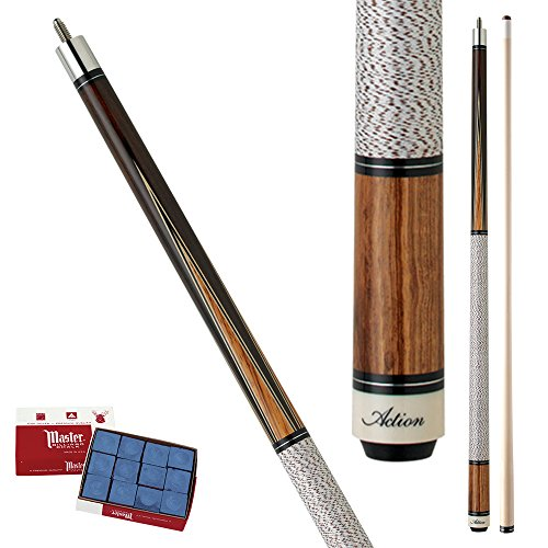 Action Inlay INL13 Dark Chocolate stain with Birdseye Maple, black and Zebra wood spliced inlay points Pool Cue Stick with 12 pieces of Master Billiard Chalk (20)