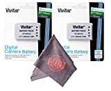 2 Pack of EN-EL5 Vivitar Ultra High Capacity Rechargeable 1200mAh Li-ion Batteries + Microfiber Lens Cleaning Cloth ENEL5 (Nikon EN-EL5 Replacement)