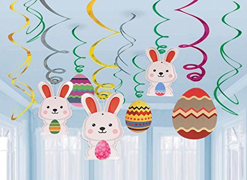 30Ct Easter Decorations Egg Bunny Hanging Swirl Foil -- Party Ornaments Supplies -