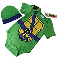 """Knitwits """"Teeny Mutant Ninja Toddlers"""" Onesie and Hat Bundle Outfit"""