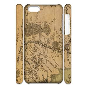 3D Print Classic Movie Series&The Lord Of The Rings Map Background Case Cover for iPhone 5C- Personalized Hard Cell Phone Back Protective Case Shell-Perfect as gift