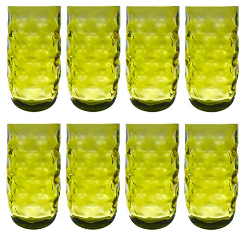 QG Clear Colorful Acrylic Plastic 23 oz. Water Cup Drinking Glass Tumbler Set of 8 Green ()