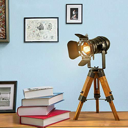 Aboyia Retro Holzstativ Tischlampe Verstellbare Schreibtischlampe Nachttischlampe Vintage Einstellbar Antike Holzbeine Tischlampenständer Stativ Loft 220V
