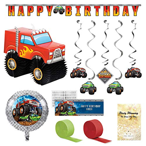 Monster Truck Party Decorations, 7 Pieces, Centerpiece, Customizable Banner, Happy Birthday Banner, Hanging Cutouts, Balloon and Streamers]()