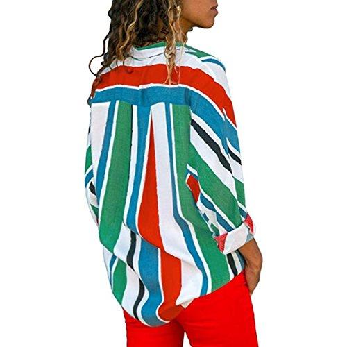 Femme de Rayures Travail Chemise Blouse Top Manche Multicolore Tonsi A Chemisier Chic Longue qaxxfA