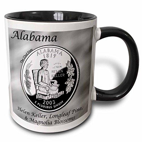 - 3dRose Bob Kane Photography Coins - State Quarter Alabama - 15oz Two-Tone Black Mug (mug_120136_9)