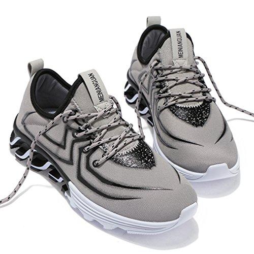 Solshine Grau Sportschuhe Laufschuhe Mesh 3 Schnürer Freizeit Atmungsaktive Gym Walkingschuhe Herren Sneakers OxTrO6q