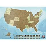 Incredible America Deluxe Scratch Off USA Map Poster – with State Flags and Ergonomic Scratching Tool – Durable Paper Built to Last