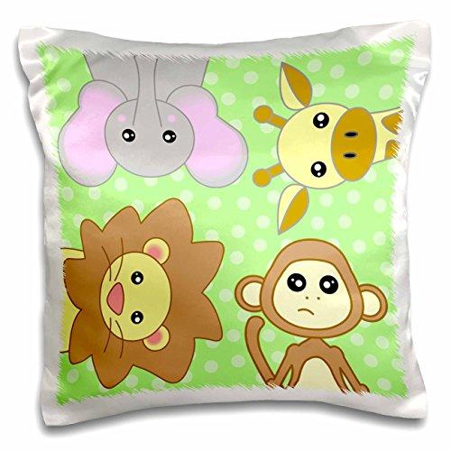 3D Rose Curious Baby Animals – Lion Monkey Giraffe Elephant on Green Background Design Pillowcase, 16'' x 16'' by 3dRose