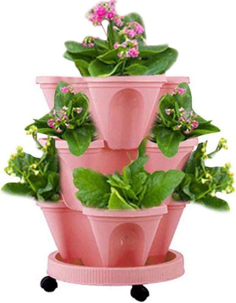 Haozhixin 3-Tier Strawberry Pot Stackable Vertical Flower Pots Set Indoor / Outdoor Vegetables Herb Planters Kitchen Balcony Stacking Pots Garden Tower with Removable Tray(Pink)