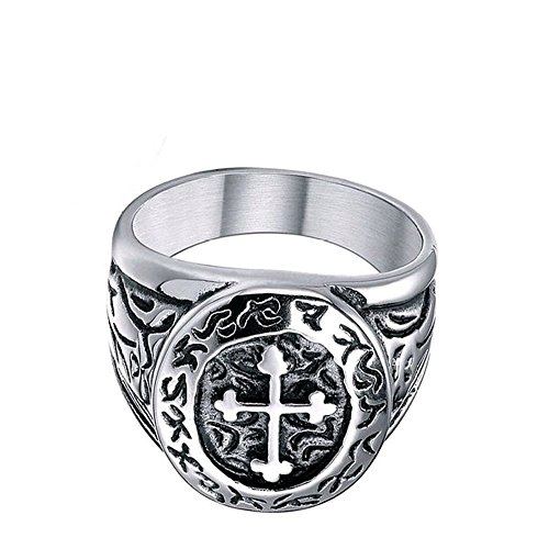 Sale! Men's 316l Stainless Steel Silver Black Celtic Medieval Cross Oval Classic Vintage Biker Ring Size 7 - 13 (10.5) Photo #6