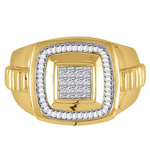 KATARINA Baguette and Princess Cut Diamond Men's Ring in 14K Yellow Gold (1 cttw, G-H, VS2-SI1) (Size-13)