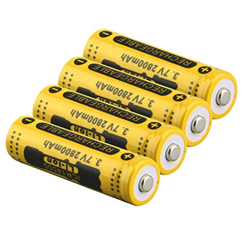Soosch 4PCS 3.7V 2800mAh Rechargeable Lithium Battery 14500 Cylindrical Battery for Electric Tools Toys Flashlights