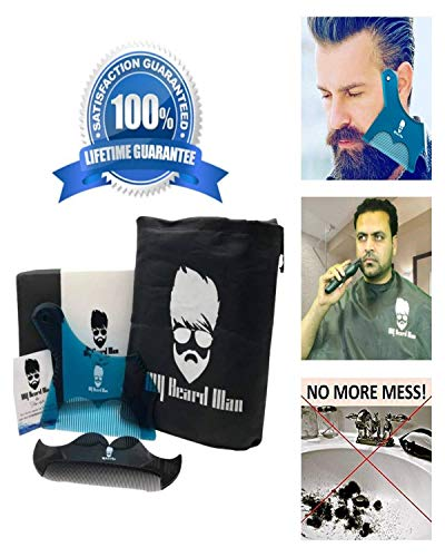 BEARD BIB FOR MEN SHAVING|BEARD SHAPING TOOL KIT FOR MEN|HAIRCUT TEMPLATES MULTI-LINER BEARD SHAPER|BEARD CARE KIT|BEARD BIB HAIR CATCHER CAPE|MENS GIFTS