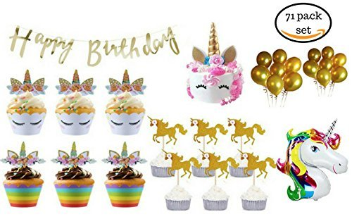 Unicorn Party Supplies 71Pcs- Unicorn Cupcake Topper Wrapper & Unicorn Horn Cake Topper Set - Unicorn Party Decorations -Unicorn Birthday Party Supplies For Girls with Balloons & Happy Birthday Banner ()