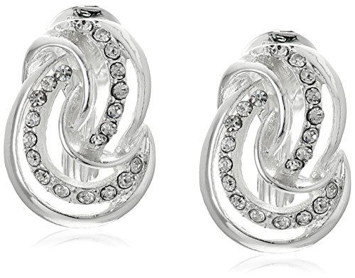 Anne Klein''Endless Clips'' Silver-Tone Crystal Knot Button Clip-On Earrings by Anne Klein
