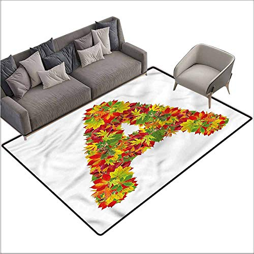 Kids Bedroom Mats Decorative Letter A,Autumn Themed Capital 48