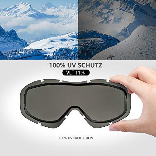 OutdoorMaster OTG Ski Goggles - Over Glasses Ski/Snowboard Goggles for Men, Women & Youth - 100% UV Protection (Black Frame + VLT 10% Grey Lens with REVO Silver)