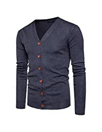 ZumZup Men Cardigan Knitted Sweater V-Neck Button 9Color Plain Cotton Slim Fit