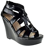 Lindy 3 Womens Strappy Platform Wedge Sandals Black Patent 6.5 | amazon.com