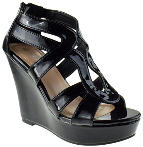 Open Toe Patent Leather Wedges (Lindy 03 Strappy Open Toe Platform Wedge Black Patent 7)