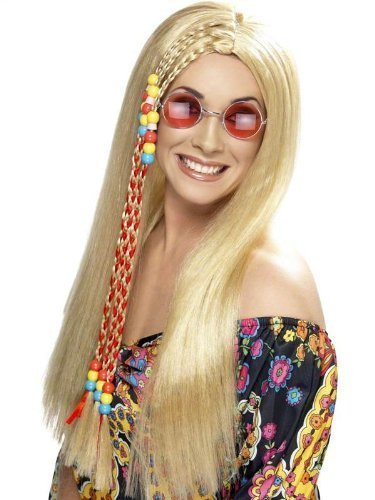 Blonde Hippie Costumes Wig (Hippy Wig Womens 60s 70s Long Blond Beads Braids Hippie Fancy Dress Costume WIG by SMF)