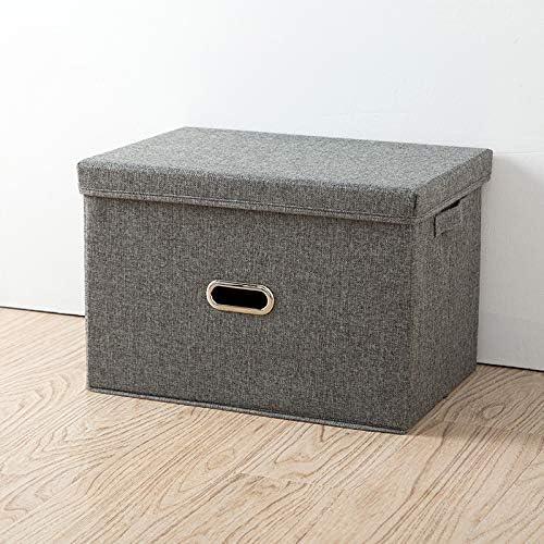 Caja de almacenamiento grande, con tapa, caja de almacenamiento de tela de lino plegable, para armario de artículos para el hogar, caja de almacenamiento de ropa interior, juego de 3 piezas: Amazon.es: