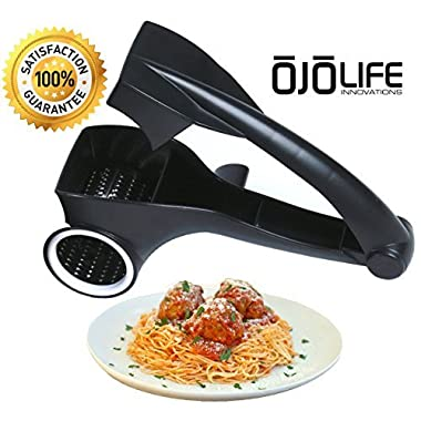 oJoLife Innovations Stainless Steel Blade Multi-Use Rotary Cheese Grater with E-CookBook
