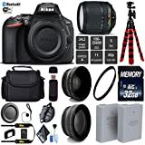 Nikon D5600 DSLR Wi-FI NFC 24.2MP DX CMOS Camera AF-S 18-140mm VR Lens + LED Light kit + Wide Angle & Telephoto Lens + 12 inch Flexible Tripod + Camera Case - International Version